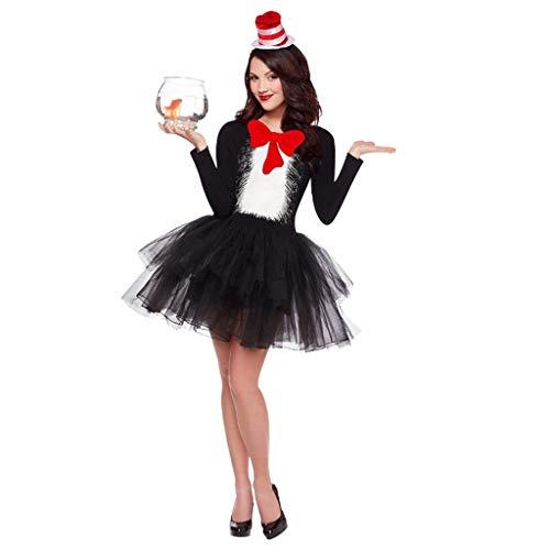 CLOOM Disfraces de Halloween para Adultos, Traje de Cosplay de Gato Chica Sexy para Mujer, Patchwork Encaje Vestidos+Sombrero, para Fiestas de Halloween o Fiestas Temáticas