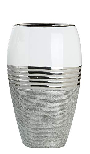 Dreamlight Moderne Deko Vase Blumenvase Oval aus Keramik weiß/Silber 24x14 cm