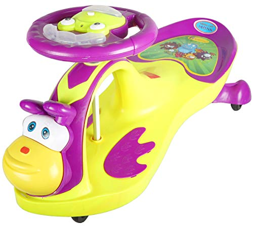 BabyGo Baby Monk Musical Magic Swing Car Ride On for Kids(Neon Green and Purple)