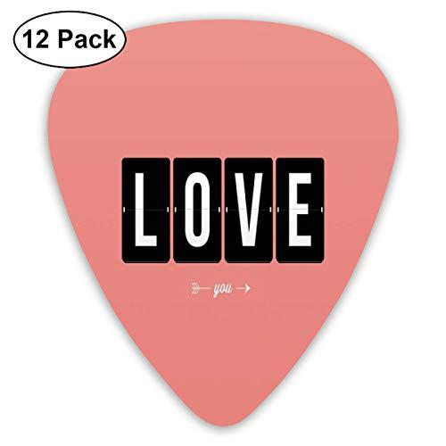 Gitar Picks12 stuks plectrum (0,46 mm-0,96 mm), Its Love Oclock mechanische klok tekst Arrows Vintage Valentijnsillustratie, voor je gitaar of ukelele