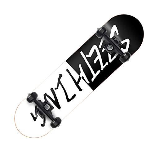 HMAKGG Skateboard para Principiantes, Niños Y Adultos, Niñas Y Adolescentes, Tabla Cruiser Skateboard Retro Completa, Rodamientos De Bolas ABEC-7 Y Madera De Arce De 7 Capas 80 * 20CM,G