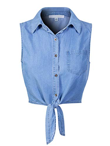 Design by Olivia Women's Sleeveless Button Down Tie Front Knot Chambray Shirts Medium Denim L