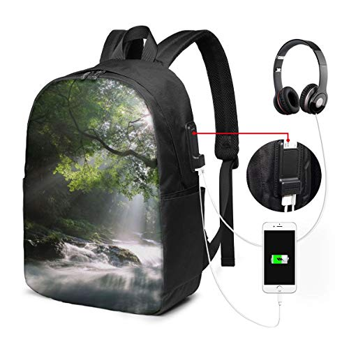 Laptop-Rucksack für Herren & Damen, passend für 43,2 cm (17 Zoll), USB, wasserabweisend, lässiger Tagesrucksack für Arbeit, Reisen, Schule, Uni, Geschäftsreisen, Pendeln, Naturbäume, Wald, Bachläufe
