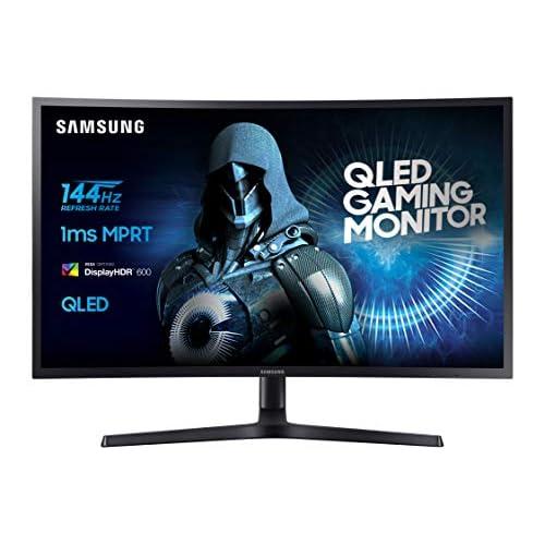 Samsung C32HG70 Monitor Gaming Curvo, 32 Pollici, Pannello VA, WQHD, QLED, HDR, 2K, 2560 x 1440, 1 ms, 16:9, 144 Hz, 1440p, 1800R, FreeSync, 1 Display Port, 2 HDMI, Regolabile in altezza, Pivot, Nero