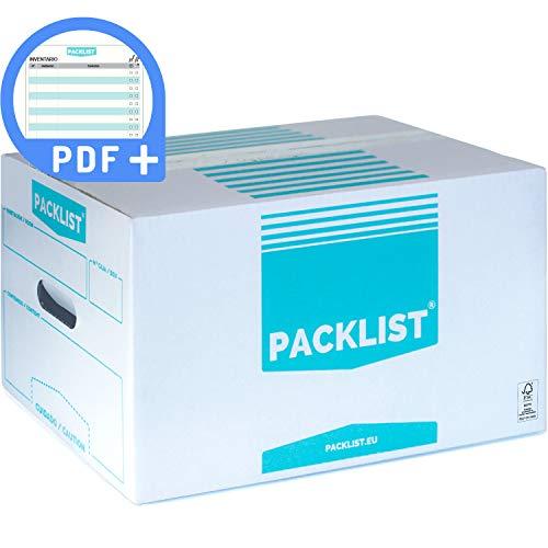 PACK 20 Cajas Cartón Mudanza y Almacenaje Personalizables - Caja de Mudanza Diseñada para Organizar, Anotar y Transportar Fácilmente - Cajas de Cartón ECO-FRIENDLY con Certificado FSC by PACKLIST.