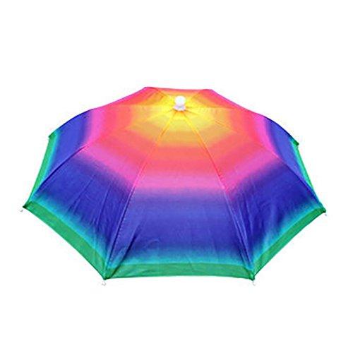 potato001 Adjustable Headband Sun Rain Outdoor Sport Foldable Fishing Umbrella Hat Cap (Rainbow)