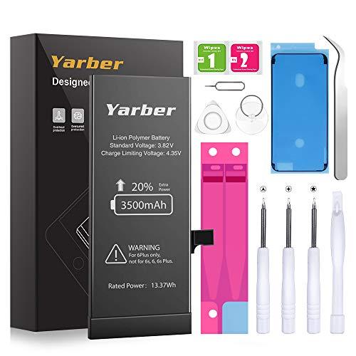 Batteria per iPhone 6 Plus, Yarber Alta Capacità 3500mAh Batteria Interna di Ricambio in Li-ion, Strumenti di Riparazione Professionale Completi con Kit Sostituzione, Cacciavite Strumenti e Adesivo