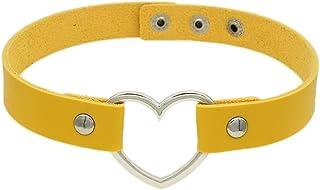 JSEA Multi Color Adjustable PU Leather Love Heart Choker Necklace Womens Collar Choker Punk