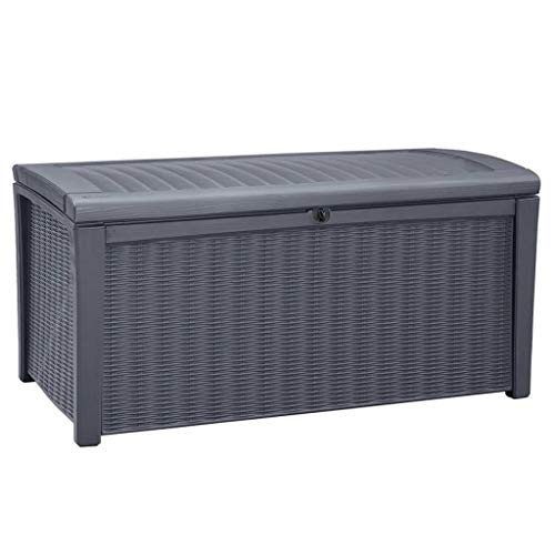 Keter Borneo Outdoor Plastic Storage Box Garden Furniture, 129.5 x 70 x 62.5 cm - Anthracite