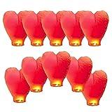 10 PCS Farolillos Voladores Linternas de Papel Farolillo Linternas Volantes, 100% Biodegradable, Linternas para Lanzar en el Cielo, Bodas, Fiestas y Festivales, Ecológico, Rojo