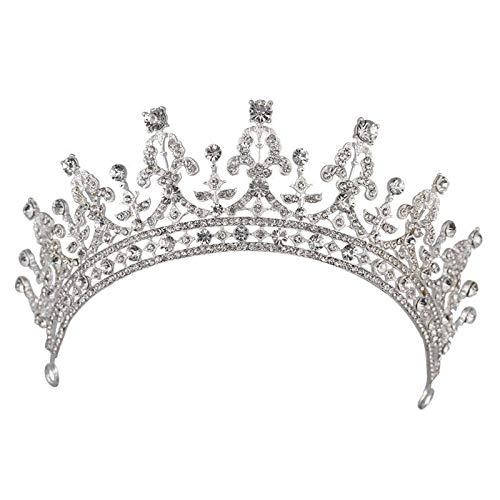 YTGUEVKDH Moda Nupcial Corona Blanca Tiara Reina de la Moda Hermosa Gran Corona de Gama Alta Accesorios de la Boda del Temperamento