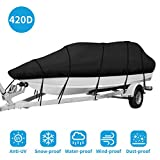 IPHUNGO 420D Heavy Duty Trailerable Waterproof Boat Cover for 17ft - 19ft Fits V-Hull, Fishing Boat, Tri-Hull, Bass Boats, Runabouts Outboards Cover , Full Size