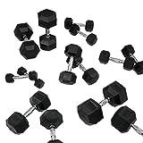 FunctionalFitness Mancuernas hexagonales de goma – Mancuernas hexagonales de hierro fundido (17,5 kg par)