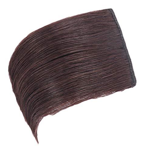 헤어 패드 가발 머리카락 두꺼운 솜털 가발 자연 진짜 머리 가발 조각 패드 여자를위한 지시와 보이지 않는 추적 헤어 피스 클립 확장 어두운 갈색