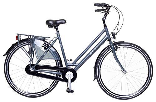 Amigo Bright - Cityräder für Damen - Damenfahrrad 28 Zoll - Geeignet ab 175-180 cm - Shimano 3 Gang-Schaltung - Citybike mit Handbremse, Beleuchtung und fahrradständer - Grau