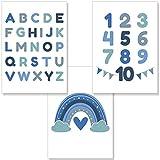 PREMYO Bilder Kinderzimmer Deko Jungen - Alphabet ABC