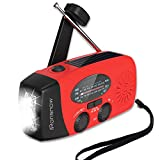 【Classic Version】 iRonsnow Solar Emergency NOAA Weather Radio Dynamo Hand Crank Self Powered AM FM WB Radios 3 LED Flashlight 1000mAh Smart Phone Charger Power Bank (Red)