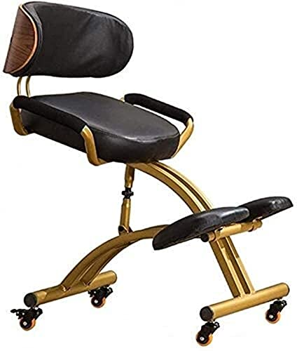 Wddwarmhome Kneeling Chair Ergonomic for Office Adjustable Work Chair with Backrest and Armrests Faux Leather Cushion Improve Posture Angled Seat for Home & Office