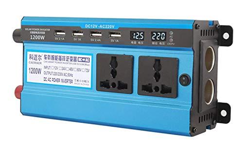 Inversor de energía de 1200 vatios 12v / 24v a 110v / 220v, inversor de Coche de Onda sinusoidal modificada, convertidor de CC a CA con Salidas duales de 110/220 voltios CA y 4 Puertos USB con LED du