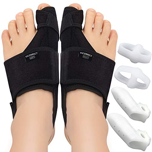 Vicorrect Bunion Corrector & Bunion Toe Separators, Orthopedic Bunion Splint for Big Toe Pain Relief and Toe Straightening, Hallux Valgus Brance for Day/Night Support