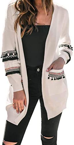 BTFBM Women Boho Long Sleeve Open Front Knit Cardigan with Pockets Bohemian Knitted Sweater product image