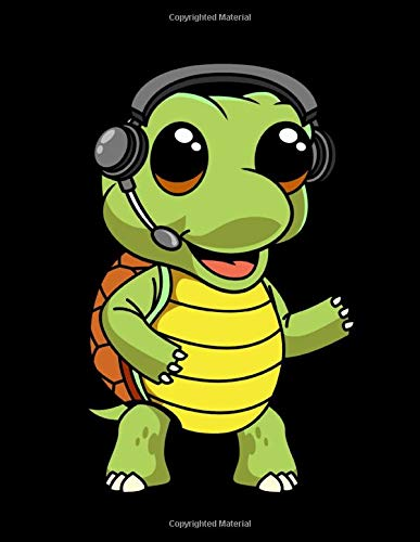 Blank Music Sheet Notebook: Kawaii Turtle DJ Animal Headphones Music Manuscript Paper, Staff Paper, Musicians Notebook 12 Staves, 8.5 x 11, A4, 100 pages (Music Composition Books)
