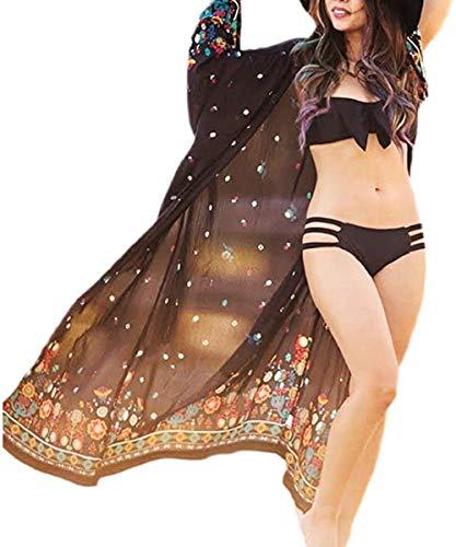 Belloxis - Kimonos de playa para mujer, vestido de malla de playa, color negro Negro Kimono Negro S/XXL