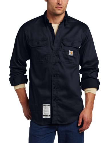 Product Image of the Carhartt Men's Flame Resistant Lightweight Twill Shirt,Dark Navy,Large