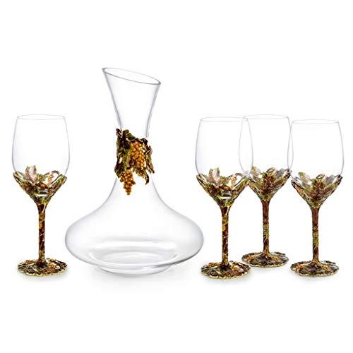 LinLiQiao Motif de Raisin Créatif Pointillé Ensemble de Vin Rouge, Verre Cristal + Matériau Émaillé, Décoration de Maison Gueule de Bois, Adapté pour Banquet Cadeau
