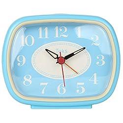 Lily's Home Quiet Non-Ticking Silent Quartz Vintage/Retro Inspired Analog Alarm Clock - Vintage Blue