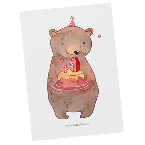 Mr. & Mrs. Panda Einladung, Grußkarte, Postkarte Bär Torte 40. Geburtstag - Farbe Weiß