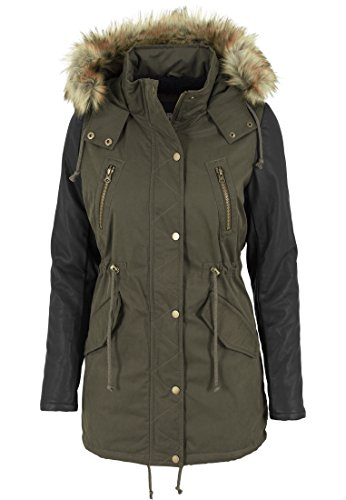 Urban Classics Damen Jacke Jacke Leather Imitation Sleeve Parka mehrfarbig (Olv/Blk) Medium