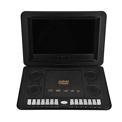Richer-R 10.1 inch draagbare DVD-speler, 800x480 mini draaibaar LCD HD display DVD speler, ondersteuning Avi SVCD VCD CD CD-R/RW/USB/FM Radio/Spel-Joystick zwart, EU-stekker.