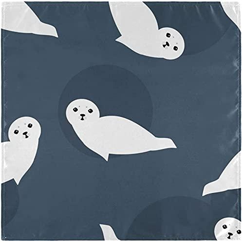 BONRI Seal - Juego de 6 servilletas de tela de poliéster lavables, servilletas de mesa de 20 x 50 cm para familia, fiestas, bodas, restaurantes y cenas de vacaciones