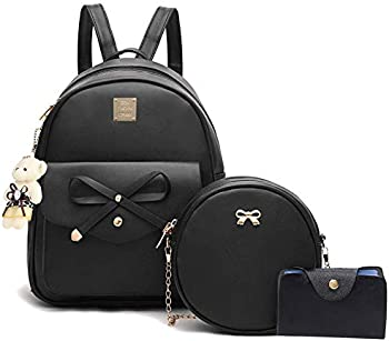 Bowknot 3-Pieces Mini Leather Cute Small Backpack