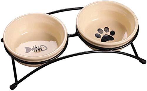 Comida Perros Gatos Tazón Para Comida Para Perros Suministros Para Mascotas Tazón De Cerámica Alimentador Para Gatos Tazón Para Comida Para Perros Mejores Regalos Últimos Modelos (color: Rojo)-blanco