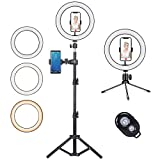 10' Ring Light with High 57' Stand Double Stents with Tripod Stand and Phone Holder, Dimmable Desk Makeup Ring Light,for iPhone/YouTube Video Live Stream Equipment/Photography/Makeup/Vlog