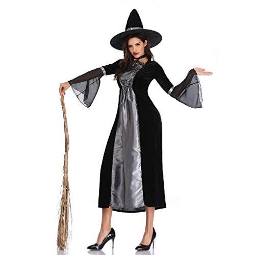 TcooLPE Halloween Cosplay Hexenspiel Anzug, Hexenkleid Hexe Hexe Nachtclub Maskerade Kostüm Hexe Model Performance Kostüm Schwarz Geisteranzug
