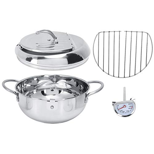 Zerodis Deep Frying Pot, Stainless Steel Deep Frying Pan Japanese Style Tempura Fryer Pan with Thermometer and Oil Drip Drainer Rack for French Fries, Chicken Steak, Shrimp, Squid, Meatballs(L-3.4L)