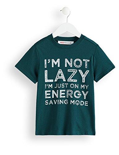 Amazon-Marke: RED WAGON Jungen T-Shirt mit Slogan-Print, Grün (Sea Moss), 122, Label:7 Years