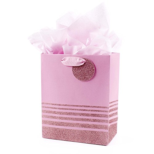 Hallmark 9' Medium Gift Bag with Tissue Paper (Pink Glitter Stripes) for Birthdays, Mothers Day, Baby Showers, Easter, Bridal Showers or Any Occasion