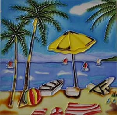 Beach Scene with Red Flowers Decorative Ceramic Wall Art Tile 6x6