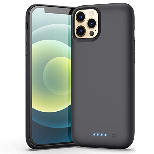 Battery Case for iPhone 12/12 Pro, (Newest 6800mAh) Battery Charging Case Protective Battery Backup Pack Portable Charging Case for iPhone 12/12 Pro Extended Phone Cover 6.1 inch Smart Case - Black