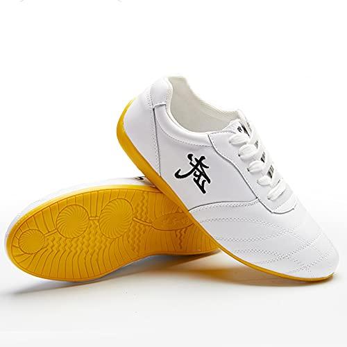 Zapatos de Tai Chi Unisex Artes Marciales, Zapatos Otoño de Kung Fu Taekwondo para Hombres y Mujeres, Ligera Adulto Zapatillas de Entrenamiento Deporte para Boxeo, Karate(Size:36EU/5US,Color:Blanco)