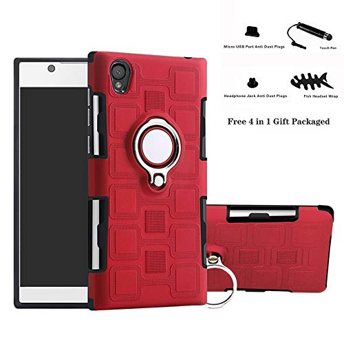 Labanema Xperia L1 / E6 Funda, 360 Rotating Ring Grip Stand Holder Capa TPU + PC Shockproof Anti-rasguños teléfono Caso protección Cáscara Cover para Sony Xperia L1 / E6 - Rojo