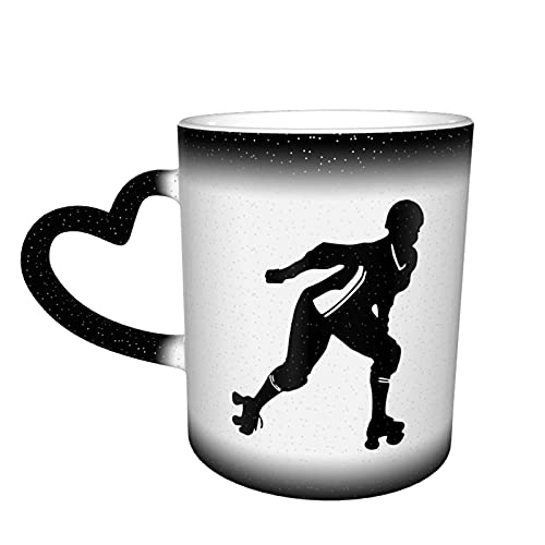 maichengxuan Taza de café unisex de viaje Roller Derby personalizada sensible al calor color cambiante taza taza de té de leche tazas de café mágicas