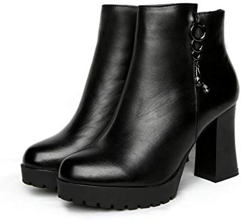 HOESCZS Stiefel Damen Woherren Leder Dicke Ferse Plattform High Heel Stiefel Damen Herbst Und Winter Schnalle Plus Baumwolle Damen Stiefel