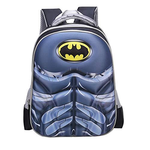 Waterproof Spiderman 3D Backpack School Backpack Comic Super Hero Design School Bag Student Bookbag Spiderman For Kids (Batman-S)