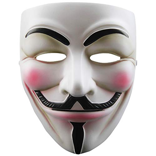 V for Vendetta White Resin Mask, Guy Fawkes Anonymous Cosplay Costume Party Masks