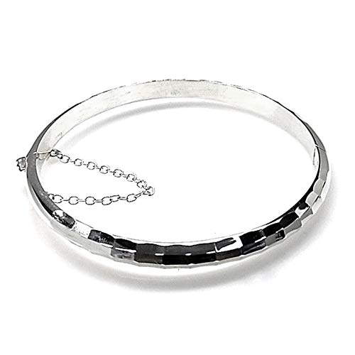 Pulsera media caña plata Ley 925m tallada brillo diámetro 60mm. hueca cadena de seguridad